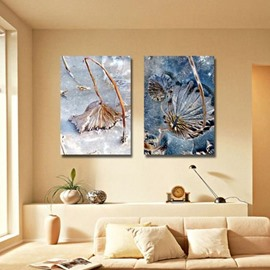 New Arrival Elegant Withered Leaves in Ice Print 2-piece Cross Film Wall Art Prints