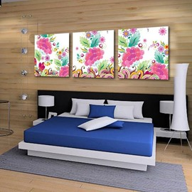 New Arrival Lovely Colorful Floral Patterns Print 3-piece Cross Film Wall Art Prints