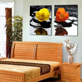 New Arrival Lovely Flowers on Cobblestones Print 2-piece Cross Film Wall Art Prints