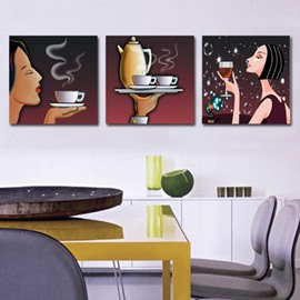 New Arrival Lovely Lady Drinking Wine and Tea Print 3-piece Cross Film Wall Art Prints