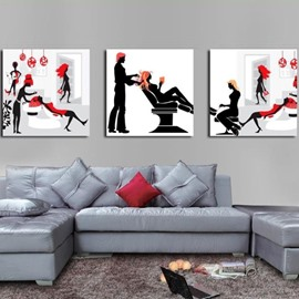 New Arrival Lovely People in Barbershop Print 3-piece Cross Film Wall Art Prints