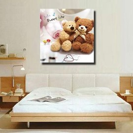 New Arrival Cute Couple Bears Print Cross Film Wall Art Prints
