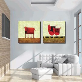New Arrival Lovely Red Chicken and Dog Print 2-piece White Cross Film Wall Art Prints