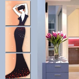 Elegant Lady in Dark Purple Dress Print 3-piece Cross Film Modern Art Prints
