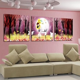 New Arrival Beautiful Girls Dancing Ballet in Forest Print 3-piece Cross Film Wall Art Prints