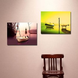 New Arrival Lovely Boats on the Lake Print 2-piece Cross Film Wall Art Prints