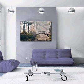 New Arrival Beautiful Wooden Bridge in Forest Print Cross Film Wall Art Prints