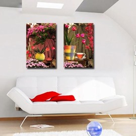 New Arrival Beautiful Pink Flower Blossoms in Vase Print 2-piece Cross Film Wall Art Prints