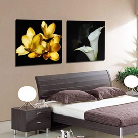 New Arrival Elegant White Calla and Yellow Flowers Print 2-piece White Cross Film Wall Art Prints