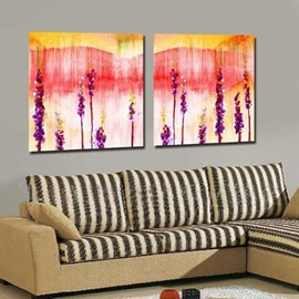 New Arrival Lovely Purple Lavenders Painting Print 2-piece White Cross Film Wall Art Prints