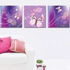 New Arrival Lovely Pink Butterfly Print 3-piece Cross Film Wall Art Prints