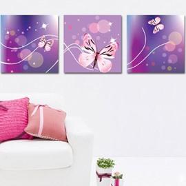 New Arrival Lovely Pink Butterfly Print 3-piece Cross Film Wall Art Prints
