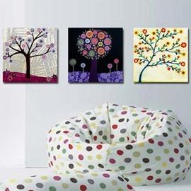 New Arrival Beautiful Small Cartoon Flowers Print 3-piece Cross Film Wall Art Prints