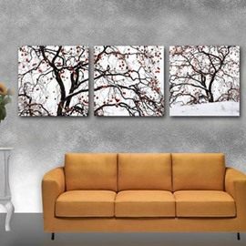 16×16in×3 Panels Tree Hanging Canvas Waterproof and Eco-friendly White Framed Prints