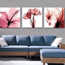 New Arrival Beautiful Pink Flowers and Stamen Print 3-piece Cross Film Wall Art Prints