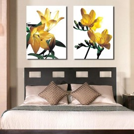 New Arrival Beautiful Yellow Flowers Green Leaves Print 2-piece Cross Film Wall Art Prints