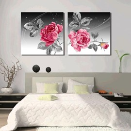 New Arrival Beautiful Red Peony Flowers 2-piece Cross Film Wall Art Prints