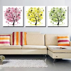 New Arrival Lovely Colorful Trees Print 3-piece Cross Film Wall Art Prints
