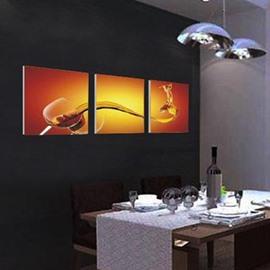 New Arrival Elegant Wine in Glass Print 3-piece Cross Film Wall Art Prints