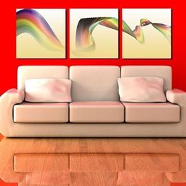 New Arrival Beautiful Rainbow Ribbon Print 3-piece Cross Film Wall Art Prints