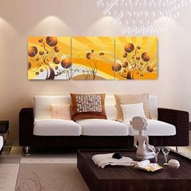 New Arrival Elegant Golden Trees Print 3-piece Cross Film Wall Art Prints