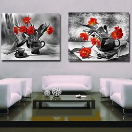 New Arrival Elegant Orange Flowers in Vase Print 2-piece Cross Film Wall Art Prints