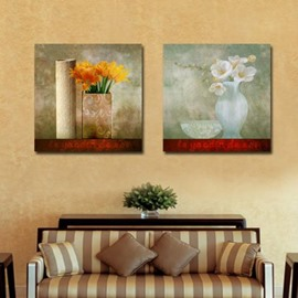 New Arrival Lovely Flowers in Vase Painting Print 2-piece Cross Film Wall Art Prints