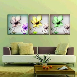 New Arrival Elegant Colorful Flowers Print 3-piece Cross Film Wall Art Prints