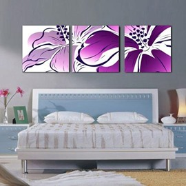 New Arrival Beautiful Purple Flower and Stamen Print 3-piece Cross Film Wall Art Prints