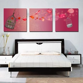 New Arrival Lovely Red Petals and Cages Print 3-piece Cross Film Wall Art Prints