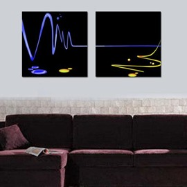 New Arrival Modern Blue and Yellow Lines Print 2-piece Cross Film Wall Art Prints