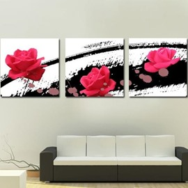 New Arrival Lovely Rose and Black Patterns Print 3-piece Cross Film Wall Art Prints