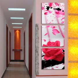 New Arrival Stunning Pink Rose and Petals Print 3-piece Cross Film Wall Art Prints