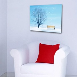 New Arrival Lovely Tree and Bench in Snow Print Cross Film Wall Art Prints