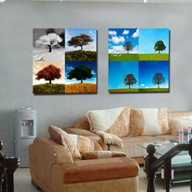New Arrival Beautiful Trees and Sky Print 2-piece Cross Film Wall Art Prints