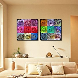 New Arrival Beautiful Colorful Roses Print 2-piece Cross Film Wall Art Prints