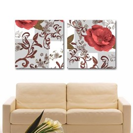 New Arrival Lovely Red Flowers and Brown Patterns Print 2-piece Cross Film Wall Art Prints