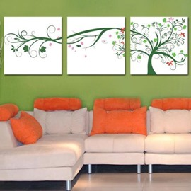 New Arrival Lovely Green Tree and Leaves Print 3-piece Cross Film Wall Art Prints
