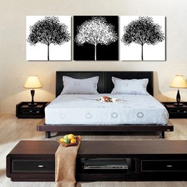 New Arrival Elegant Black and White Trees Print 3-piece Cross Film Wall Art Prints