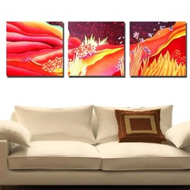 New Arrival Beautiful Flowers Red Scenery Print 3-piece Cross Film Wall Art Prints