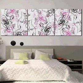 New Arrival Elegant Purple and Black Floral Patterns Print 3-piece Cross Film Wall Art Prints