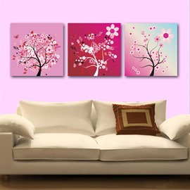 New Arrival Beautiful Flower Tree 3-piece Cross Film Wall Art Prints