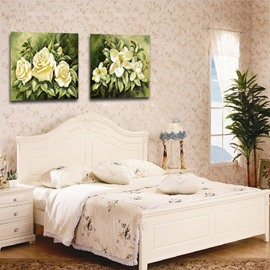 New Arrival Delicate White Flowers And Green Leaves Film Wall Art Prints