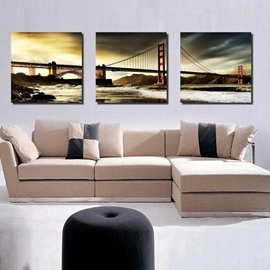 Gorgeous Golden Gate Bridge Over The Lake Scenery Canvas Wall Art Prints