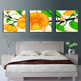 New Arrival Sweet Yellow Flowers and Green Leaves Canvas Wall Prints