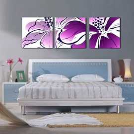 Gracious Purple Flower Blossom Framed Canvas Wall Art Prints
