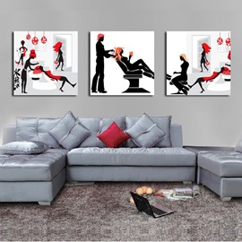 Wonderful People in Barbershop Pattern Canvas 3-Panel Wall Art Prints