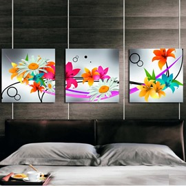 Colorful Various Blooming Flowers Pattern Three Panels None Framed Canvas Wall Art Prints