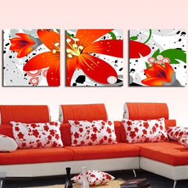 New Arrival Bright Lovely and Fancy Red Flowers Canvas Wall Prints