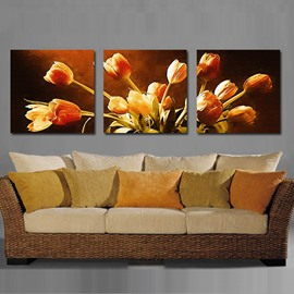 16×16in×3 Panels Tulips Pattern Hanging Canvas Waterproof and Eco-friendly Framed Prints